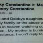 Raquel Constantino says that her deceased mother Debby is 'burning in Hell'